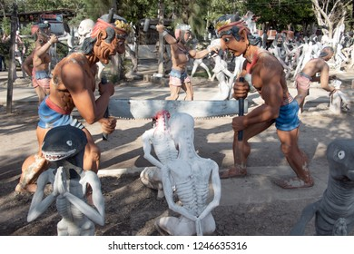 SUPHAN BURI, THAILAND, JAN 01 2018, Sinners is tortured at Buddhist hell. Torture of sinful people, afterlife.