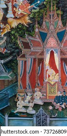SUPHAN BURI, THAILAND - JANUARY 31, 2014 : Buddhist temple mural painting (The life of Buddha) inside of Wat Sampasiw  in Suphan Buri, Thailand