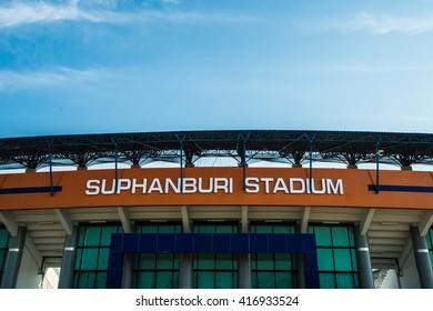 SUPHANBURI, THAILAND- APRIL7: The stadium of Suphanburi FC during the competition Thai League 2016 between Suphanburi FC and Sukhothai FC at Suphanburi Stadium on April7, 2016 in Suphanburi, Thailand.