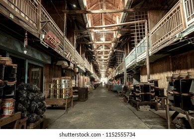 Suphanburi, Thailand - July 22, 2018: Kao Hong Market It is Thai-Chinese trading community market located near Ta Chin River with over 100 years of history.