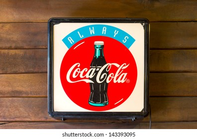 SUPHANBURI, THAILAND-JUNE 16: Light box coca-cola at old shop, Classic light box advertising Coca-cola brand in stores an old market town on June 16, 2013 in Suphanburi, Thailand