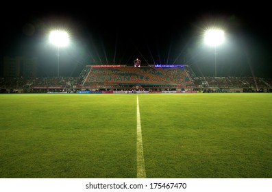 SUPHANBURI-THAILAND JANUARY 5: View of Suphanburi Stadiums during the Friendly Match Suphanburi fc.and Muangthong United at Suphanburi Stadium on January 5,2014 in,Thailand