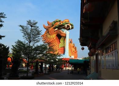 Suphanburi,Thailand-October 14, 2018 : Dragon Descendants Museum in Suphanburi Province(Thailand),The great yellow dragon.