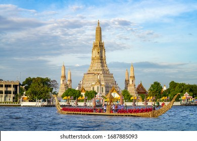 Suphannahongse tradition boat in King ceremony carnival with Wat arun temple background, Bangkok, Thailand.