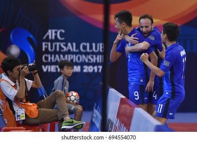 SUPHAWUT THUEANKLANG of Bluewave Chonburi celebrates during AFC Futsal Club Championship Vietnam 2017 Match Bluewave Chonburi and Shriker Osaka at Phu tho Stadium on July 27,2017 in Vietnam.