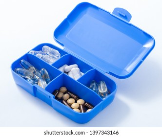Supplement in a blue plastic container