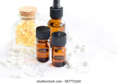supplement and bottles on science sheet