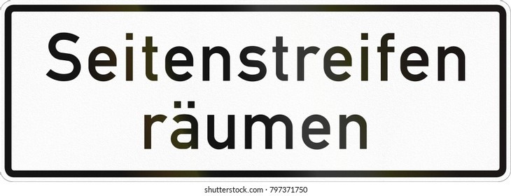 Supplementary road sign used in Germany - Clear shoulder.
