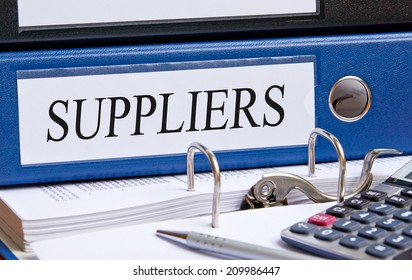 Suppliers - blue binder in the office