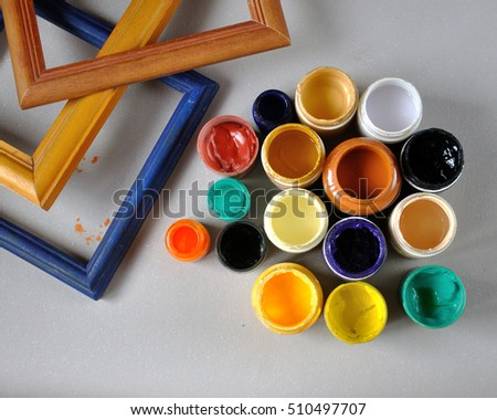Supplies Painting Paints Colorful Frames Stock Photo Edit Now