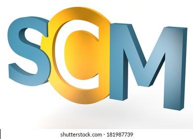 Supply Chain Management - acronym 3d render illustration concept