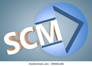 Supply Chain Management - acronym 3d render illustration concept with a arrow in a circle on blue-grey background