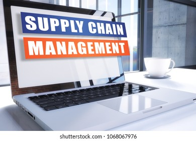 Supply Chain Management text on modern laptop screen in office environment. 3D render illustration business text concept.