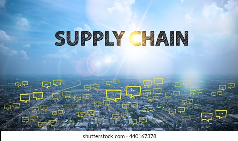 SUPPLY CHAIN  text on city and sky background with bubble chat ,business analysis and strategy as concept