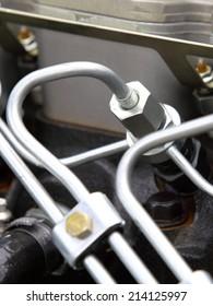 supply system for diesel fuel, clean motor block, diesel engine detail