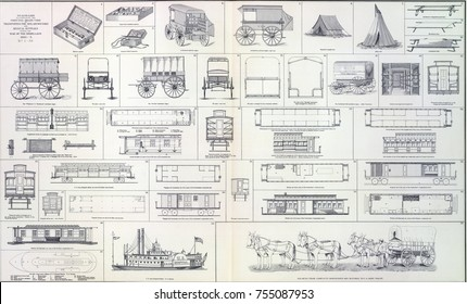 Supply wagons, cook wagons railroad cars and other logistics  from Atlas to Accompany the Official Records of the Union & Confederate Armies, 1861 - 1865