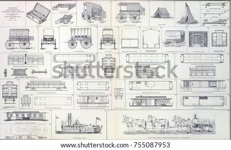 Supply Wagons Cook Wagons Railroad Cars Stock Photo (Edit