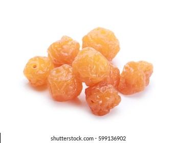 Supplying Chinese Preserved Fruits Dried Golden Cherry on white background.