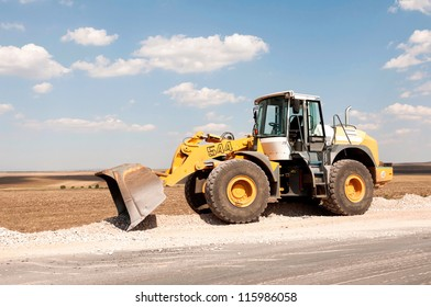 Support activities for the construction of a highway. Road under construction.