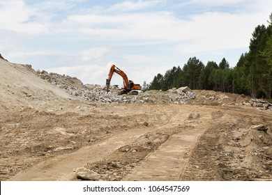 Support activities for the construction of roads and highways. The road is under construction and repair.