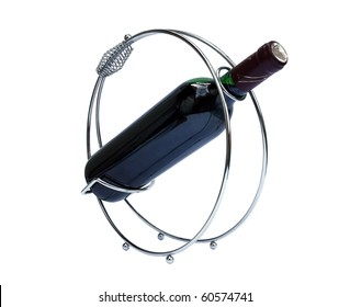 support with bottle of wine isolated with clipping path