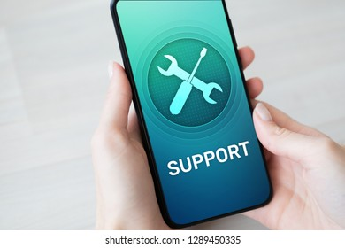 Support, Customer service icon on mobile phone screen. Call center, 24x7 assistance.