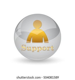 Support icon. Internet button on white background.
