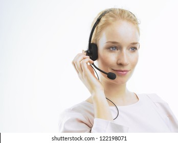 Support phone operator in headset, isolated on white