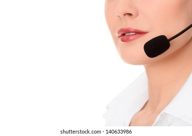 Support phone operator in headset, isolated on white, copyspace