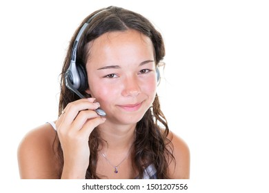 Support phone operator young pretty woman in headset callcenter over white background