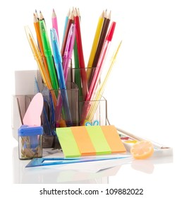 Support with stationery on a white background