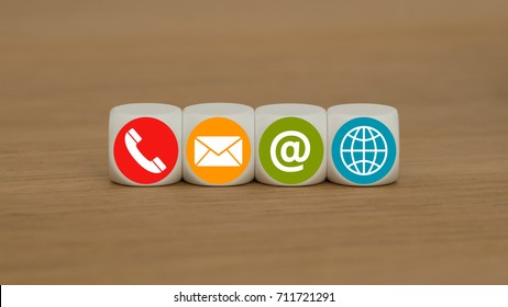 support us concept with red, yellow, green and blue contact icon on cubes