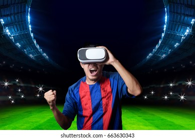 Supporter Cheer With Virtual Reality Glasses Cheer Favorite Football Team and Soccer Stadium Backgrounds