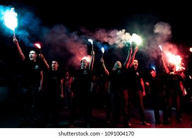 Supporters of the extreme far-right Golden Dawn party celebrate after the early election results, at the central offices of the Golden Dawn in Thessaloniki, Greece 17 June 2012.