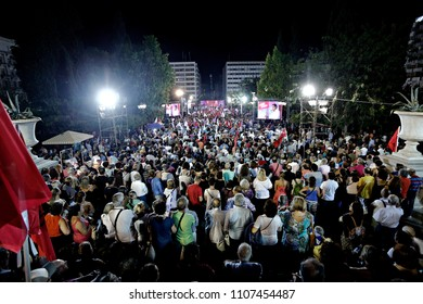 Supporters gather to listen the speech of opposition leader and head of the radical left Syriza party Alexis Tsipras during a campaign rally in Athens, Greece on Sep. 18, 2015