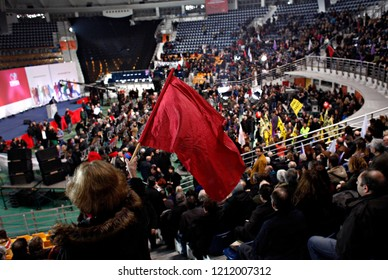 Supporters of the Greek opposition party Syriza listening to a speech of party leader Alexis Tsipras in Thessaloniki, Greece on 20 Jan. 2015