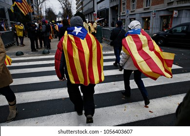 Supporters for the independence of Spain's Catalonia region gather to Cinquantenaire park to support arrested members of former Catalan government in Brussels, Belgium on Dec. 7, 2017