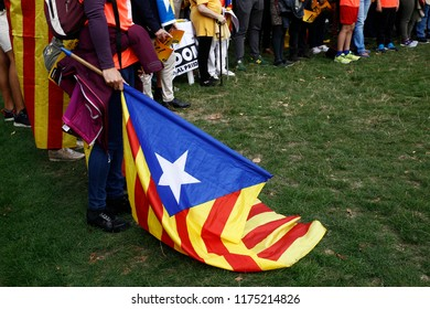 Supporters for the independence of Spain's Catalonia region gather to Atomium park to celebrate the Catalan National Day in Brussels, Belgium on Sep. 9, 2018