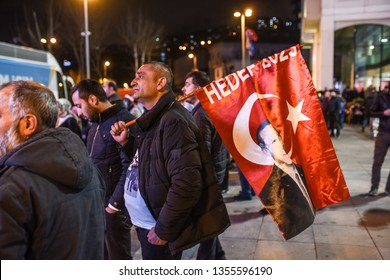 Supporters of Justice and development party (AKP) leave after Turkish president's speech near the headquarters of the conservative Justice and Development Party on March 31, 2019 Istanbul - Turkey.