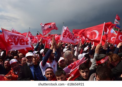 Supporters wait for the arrival of Turkey's President Recep Tayyip Erdogan for a referendum rally in Istanbul,8 April 2017 Turkey ,Istanbul.