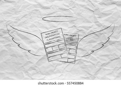 supporting or donating for a charity, conceptual: nonprofit organization enrollment or fundraising forms with angel wings