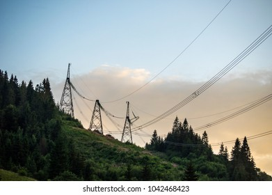 Supports of power lines in the mountains
