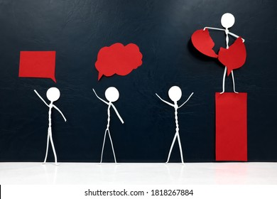 Suppression and oppression by authority, dictatorship, authoritarian leadership and violation of freedom of expression concept. Human stick figure tearing down red speech bubble.