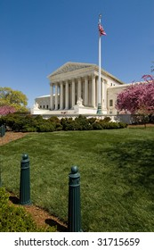 The Supreme Court Building on Capitol Hill, shown in springtime