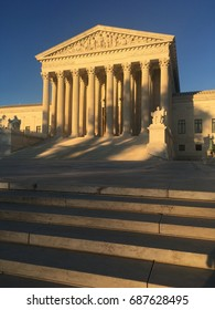 Supreme Court building at sunset