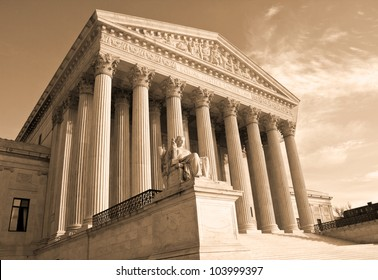 Supreme Court building in Washington, DC, United States of America - sephia