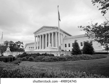 Supreme Court building in Washington DC. in black and white.