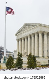 Supreme Court building in winter - Washington DC United States