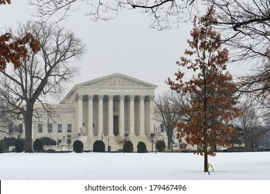 Supreme Court building in winter - Washington DC United States