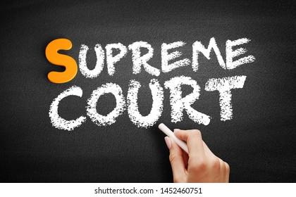 Supreme Court text on blackboard, concept background